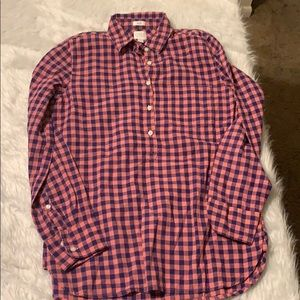 J Crew pink and purple plaid shirt